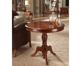 Klasický rustikálny okrúhly príručný stolík CASTILLA II vyzdobený intarziou