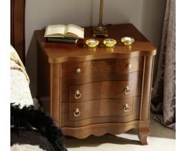 Luxusný zdobený rustikálny nočný stolík CASTILLA z masívu v klasickom štýle s 3mi zásuvkami