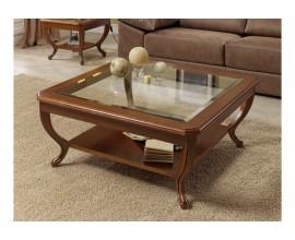 Luxusný rustikálny presklený konferenčný stolík CASTILLA III štvorcový