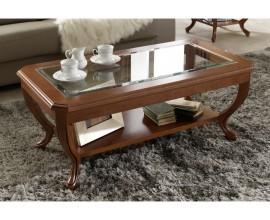 Luxusný rustikálny konferenčný stolík presklený CASTILLA IV obdĺžnikový
