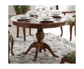 Exkluzívny rustikálny vyrezávaný okrúhly jedálenský stôl rozkladací CASTILLA Chippendale III 115-155cm