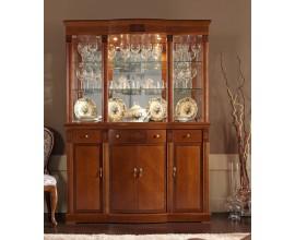 Luxusná rustikálna vitrína CASTILLA 150cm sklenená trojdverová s LED podsvietením