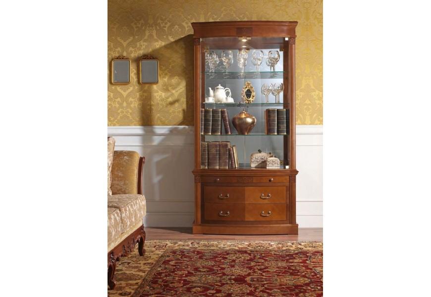 Luxusná klasická vitrína CASTILLA z masívu 100cm s LED osvetlením