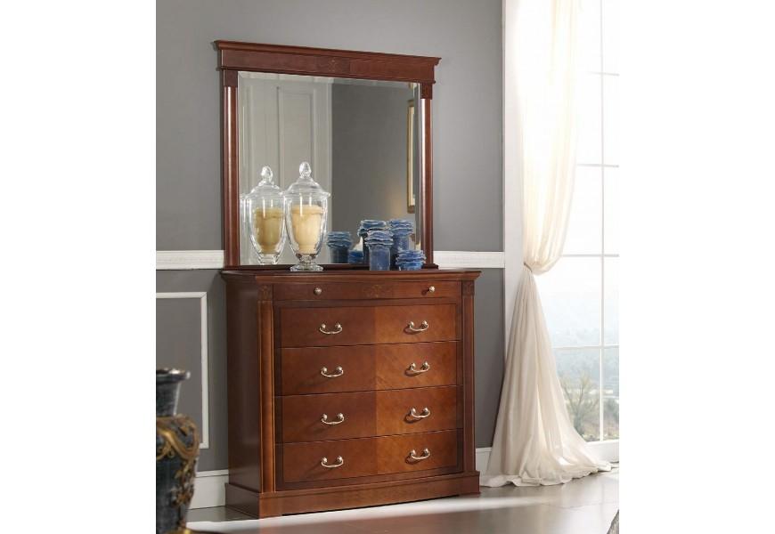 Luxusná rustikálna komoda CASTILLA vyzdobená intarziou s 5timi zásuvkami