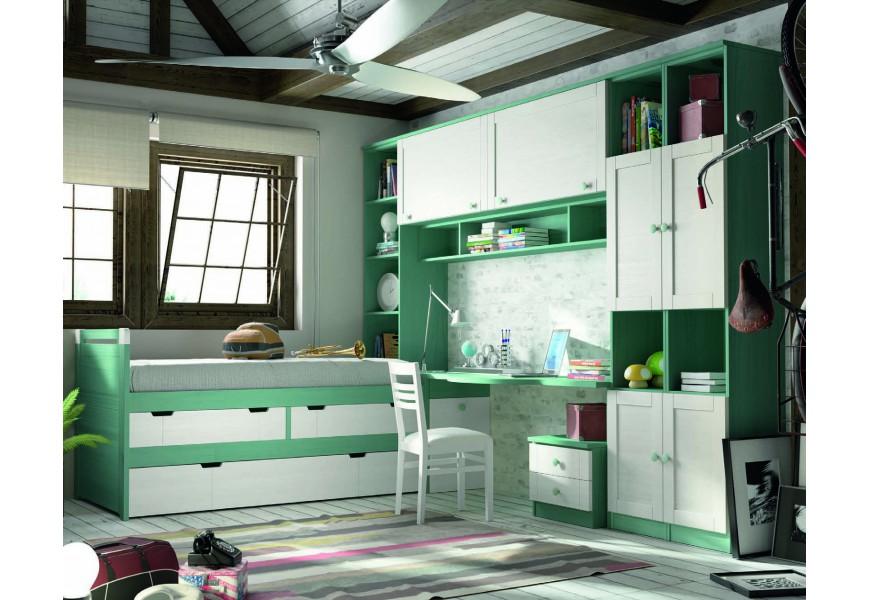 Luxusná študenstská izba Verde agua / Blanco decapé
