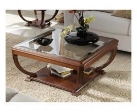 Luxusný rustikálny štvorcový konferenčný stolík RUSTICA I presklený 60-90cm