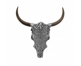 Jedinečná nástenná dekorácia Bull z kovu a masívneho dreva