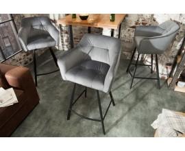 Jedinečná vintage stolička Ima so zamatovým poťahom a kovovým rámom