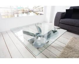 Štýlový konferenčný stolík Helice I v tvare lodnej skrutky v strieborom prevedení 85cm