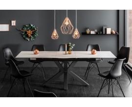 Industriálny rozkladací jedálenský stôl svetlo šedý Callandra II 180-225cm