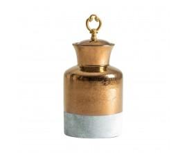 Dekoratívna flaša zlatá biela 26cm