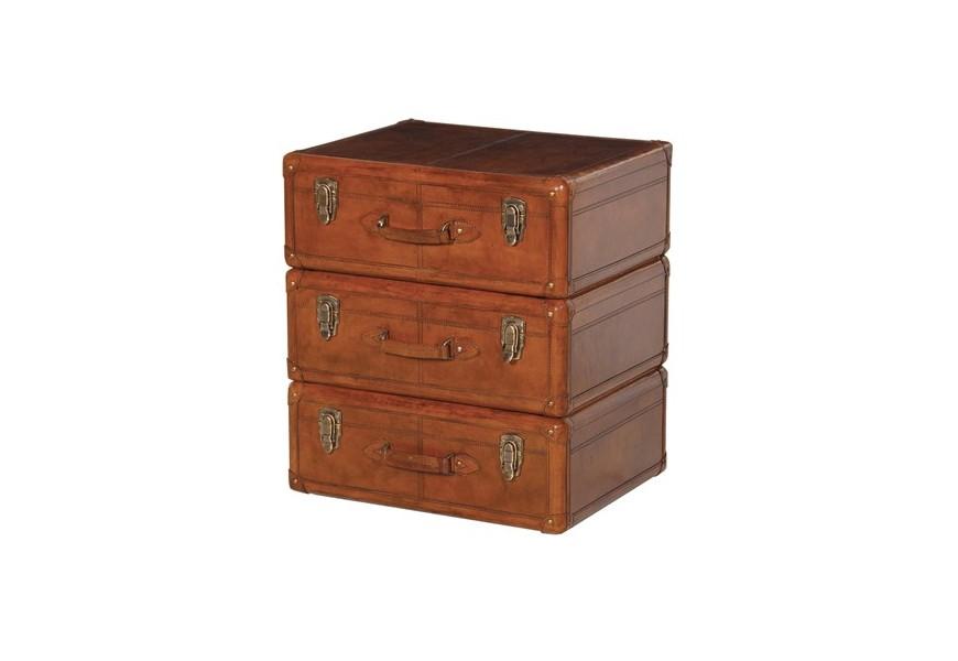 Luxusná ručne robená vintage truhlica Ynes z pravej talianskej kože