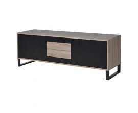 Moderný čierno-hnedý TV stolík Leniar II na nožičkách 150 cm