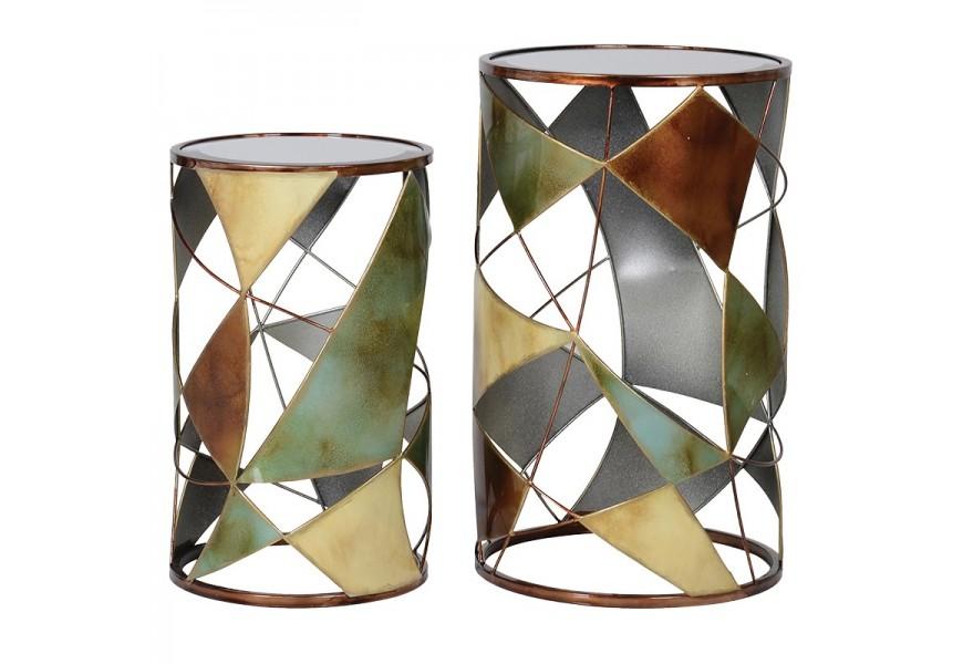 Set dizajnových a jedinečných vitrážových príručných stolíkov v art-deco štýle