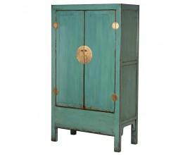 Vintage zelenomodrá šatníková skriňa Verda dvojdverová