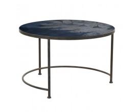 Dizajnový vintage konferenčný stolík Dawson modrý