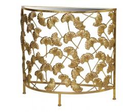 Exkluzívna art-deco konzola zo skla so zlatou ornamentálnou konštrukciou