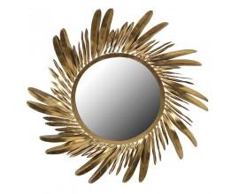 Dizajnové kruhové art-deco zrkadlo Orenette so zlatým rámom