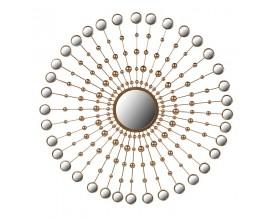 Dizajnové art-deco kruhové zrkadlo Orenette zlaté 100cm