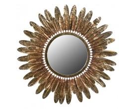 Jedinečné kruhové zrkadlo Orenette v art-deco štýle so zlatým rámom