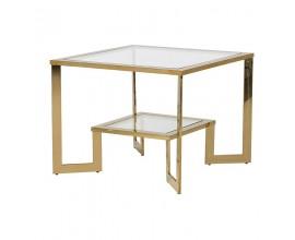 Jedinečný art-deco príručný stolík Orenette zo skla a zlatého kovového rámu 65cm