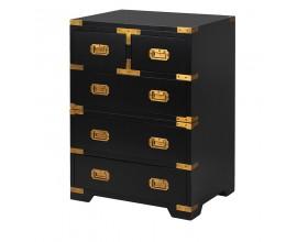 Art-deco čierny nočný stolík so zlatým zdobením Wielton Oro
