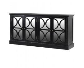Art-deco luxusný príborník Delrico čierna so štyrmi dvierkami 189 cm