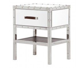 Zrkadlový nočný stolík Giverny biely so zásuvkou s hnedou rukoväťou