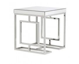 Zrkadlový art-deco príručný stolík Ismay štvorcového tvaru biely