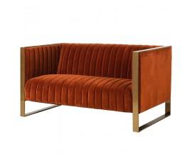 Luxusná retro dvojsedačka oranžovej farby Janina 146cm