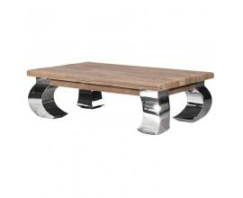 Industriálny luxusný obdĺžnikový konferenčný stolík Karlotta hnedý 140 cm