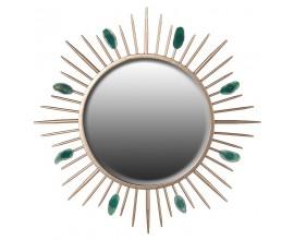 Luxusné art-deco zrkadlo so zlatým rámom a zelenými kameňmi Jeanina