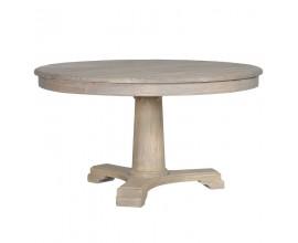 Vidiecky luxusný jedálenský okrúhly stôl Karlotta prírodný 140 cm