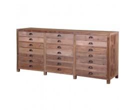 Vidiecka dizajnová komoda Ondine z borovicového dreva s tromi zásuvkami a tromi skrinkami s falošnými zásuvkami  200,5