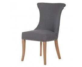 Dizajnová jedálenská stolička Ondine so sivým poťahom s klopadlom a drevenými nohami 96cm
