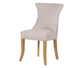 Dizajnová jedálenská stolička Ondine slonovinovej farby s kruhovou úchytkou 96cm