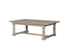 Rustikálny luxusný obdĺžnikový konferenčný stolík Karlotta svetlohnedý 130 cm