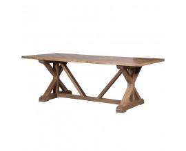 Vidiecky luxusný jedálensky stôl Karlotta z dreveného masívu svetlohnedý 220 cm