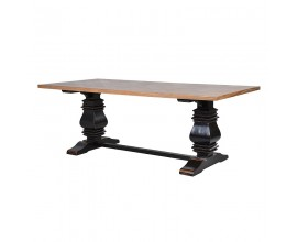 Vidiecky luxusný jedálensky stôl Karlotta svetlohnedý, čierny 220 cm