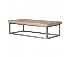Moderný dizajnový konferenčný stolík Pruitt z dreva a kovu 140cm