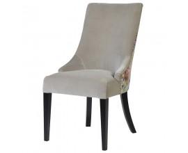 Moderná vintage jedálenská stolička Pruitt v béžovej farbe s kvetovým dizajnom a vysokou opierkou 102cm