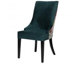 Štýlová vintage jedálenská stolička Pruitt so zeleným čalúnením a kvetovým dizajnom