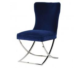 Art-deco luxusná jedálenská stolička Nouvel tmavomodrá