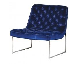 Art-deco luxusná stolička Nouvel tmavomodrá