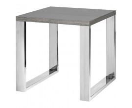Moderný luxusný štvorcový príručný stolík Tallys šedý