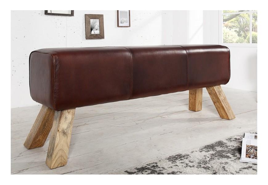 Luxusná hnedá lavica z kože v industriálnom štýle
