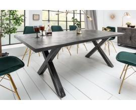 Industriálny luxusný jedálensky stôl Frida šedý 160 cm z masívneho dreva
