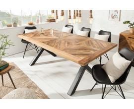 Industriálny luxusný jedálensky stôl Frida hnedý 160 cm z masívu