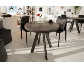 Industriálny dizajnový okrúhly jedálensky stôl Ivar šedý z masívu