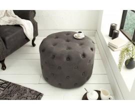 Chesterfield dizajnová taburetka Egon v sivej farbe 60cm